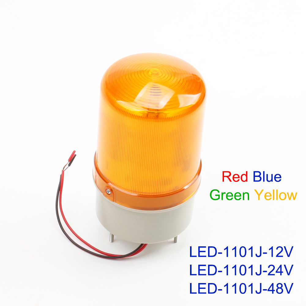 DC 12V 24V 48V LED-1101J Red Yellow Green Blue Warning Light Lamp Siren Sound And Rotating Industrial Warning With Buzzer