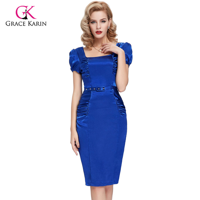 2017 Short Sleeve Satin Cocktail Dresses Blue Black robe de cocktail ...