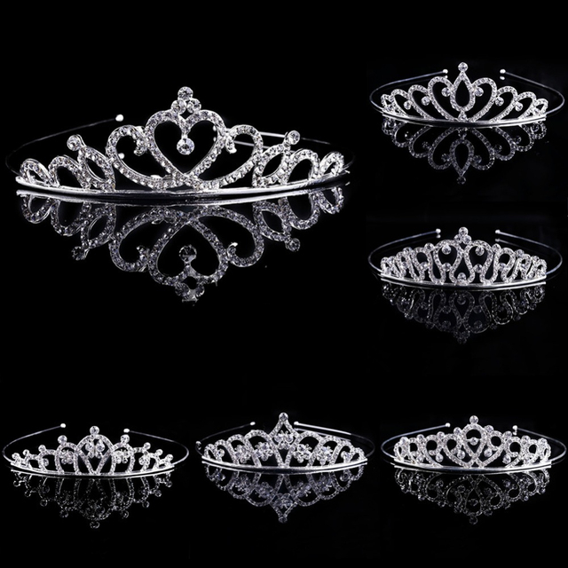 New 1PC Girl Bridal Princess Wedding Hair Accessories Crystal Rhinestone Crown H