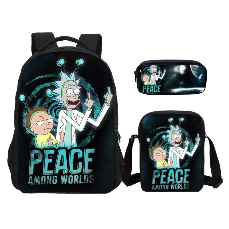 VEEVANV 3 pièces Set drôle Rick et Morty enfants école sacs à dos avec porte-crayon bande dessinée garçons sacs à bandoulière adolescent ordinateur portable sacs à dos