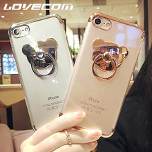 LOVECOM Electroplate Clear Case For iPhone XS MAX XR X 5S 6S Plus 7 8 Plus DIY Ring Bear Holder Stand Soft TPU Phone Back Cover(China)