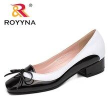 ROYYNA ใหม่มาถึงสไตล์แฟชั่นผู้หญิงปั๊ม Butterfly Knot ผู้หญิงรองเท้าสแควร์ Toe รองเท้าสตรีตื้น Lady รองเท้า