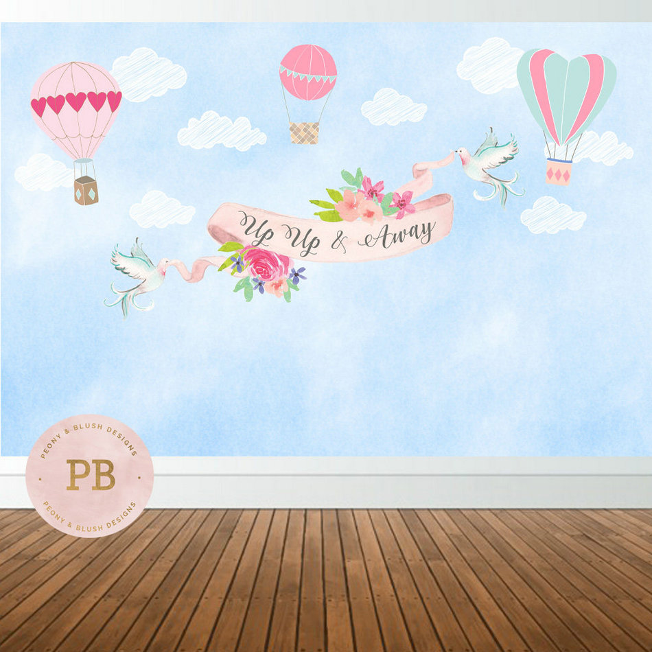 custom Hot Air Balloon Clouds Flower Leaves Bird Baby Shower backdrop High quality Computer print party background