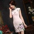 TIC-TEC chino tradicional cheongsam qipao corto verano de las mujeres imprimir formal elegante vestidos de noche ropa oriental P2972