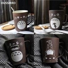 OUSSIRRO Totoro Thema Milch/Kaffee Becher Mit Deckel und Löffel Reine Farbe Tassen Tasse Küche Werkzeug Geschenk