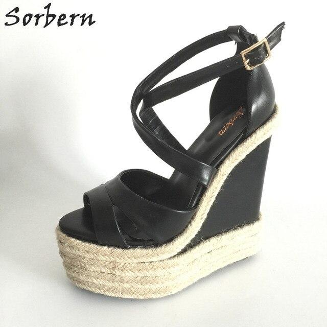 "Sorbern Rope Wedge Heels 18Cm/7"" High Heels Size 13 Shoes For Women Plus Size 34-46 Custom Open Toe Sandals 2018 New Arrivals"
