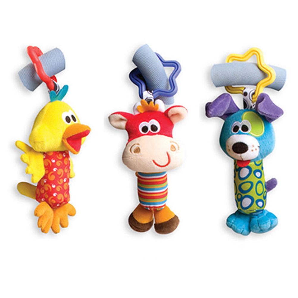 1 Piece Baby Plush Toy Crib Bed Stroller Hanging Ring Bell Toy Soft Baby Rattle Early Educational Doll Cartoon Animal Rattle Toy
