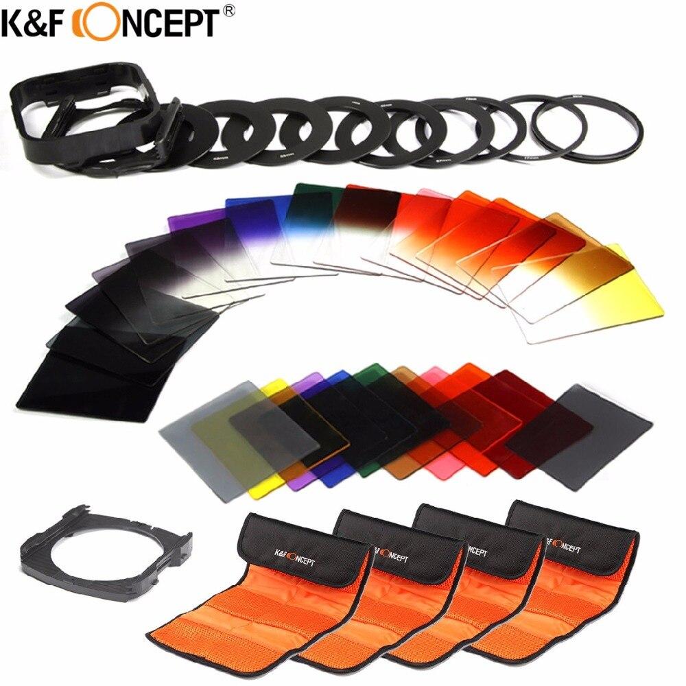 K & F Concept 40 en 1 Kit de filtre d'objectif de caméra 24 Set de filtre nd couleur gradué + 9 anneau adaptateur + 2 support + pare-soleil + 4 sac filtrant