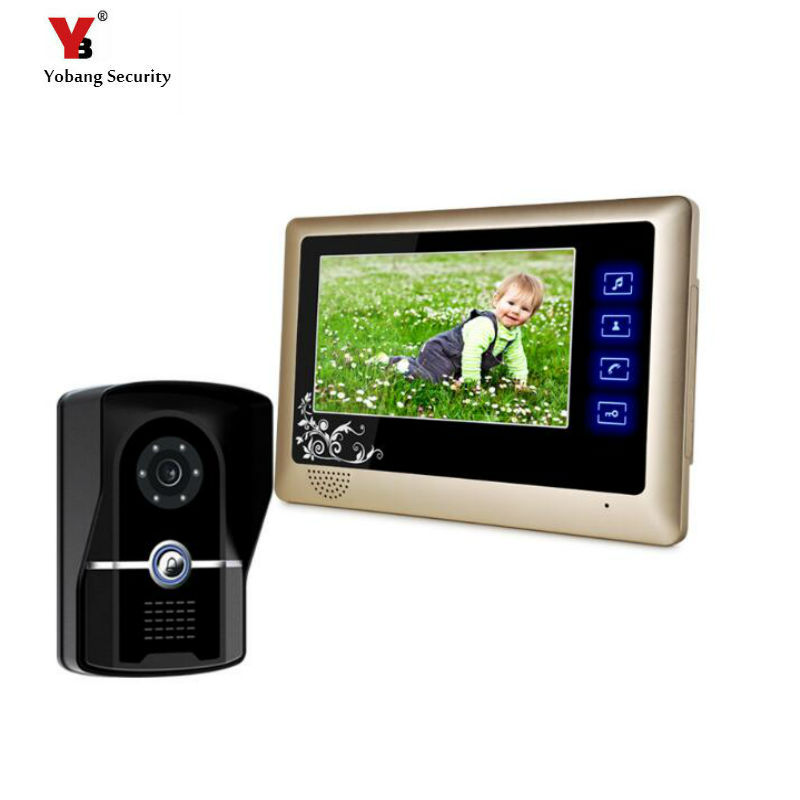 "Yobang Security  7"" Night Visual Color Video Door phone 700TVL door monitor villa Video intercom systems video doorbell phone"