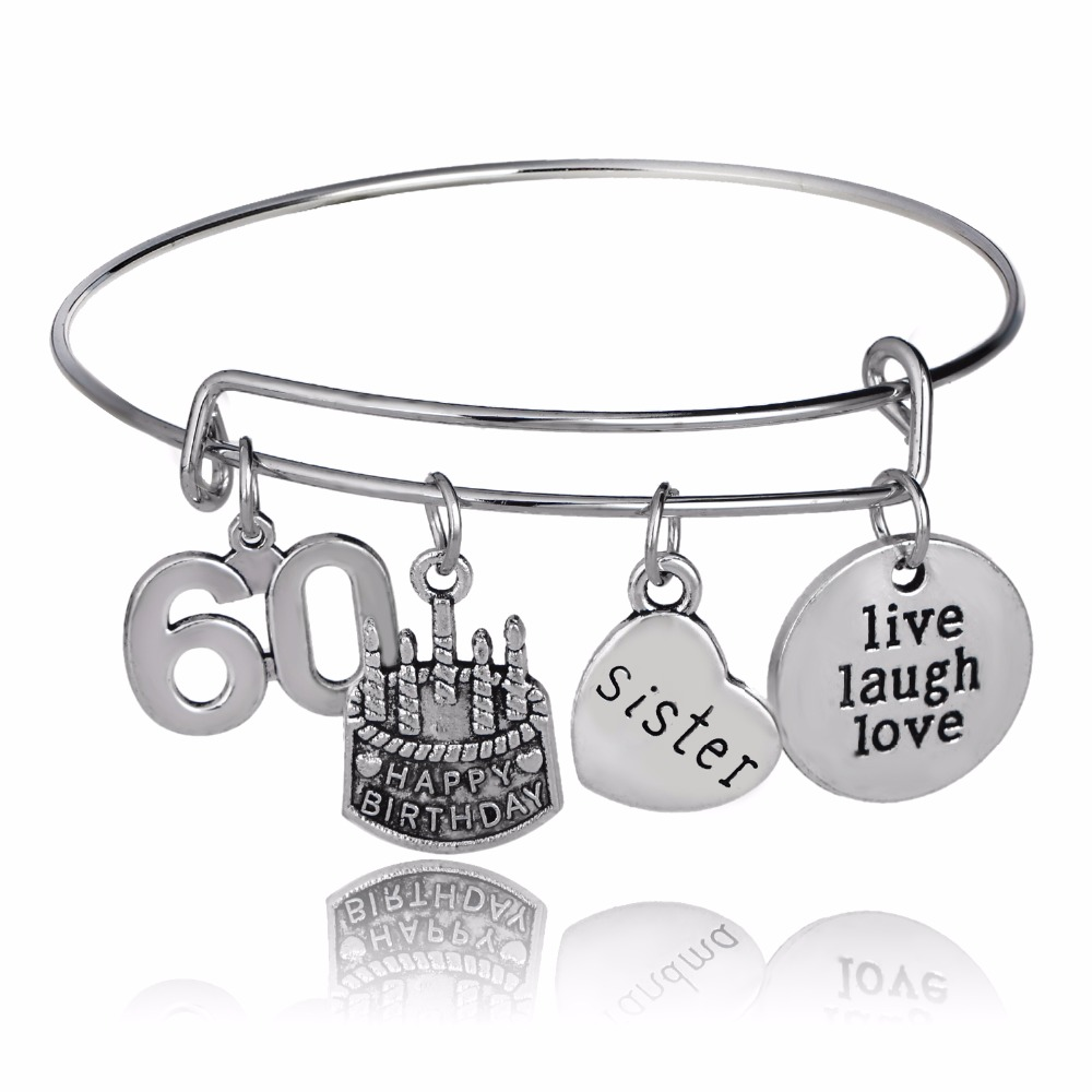 Lucky Number 60 Sister Sis Heart Bangles Live Laugh Love Bracelet Happy Birthday Cake Women Friends Family Jewelry Party Gifts