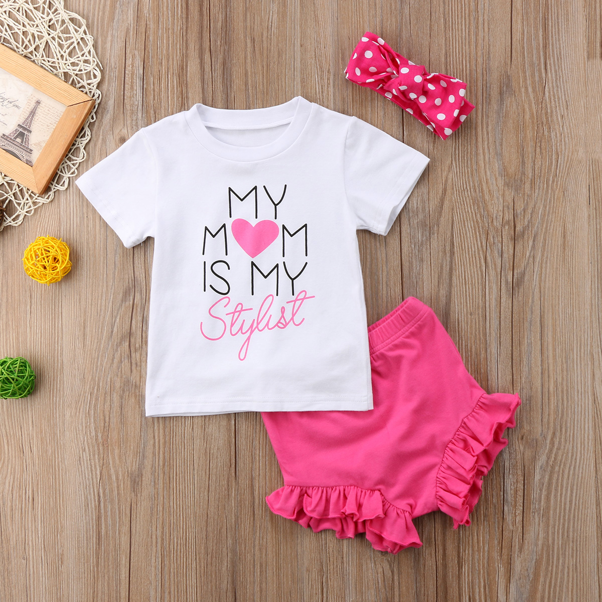 Generous Cute Baby Girl Heart Bowknot Flying Sleeve T-shirt Top Mother & Kids Plaid Shorts Outfit Set Buy Now Girls' Clothing