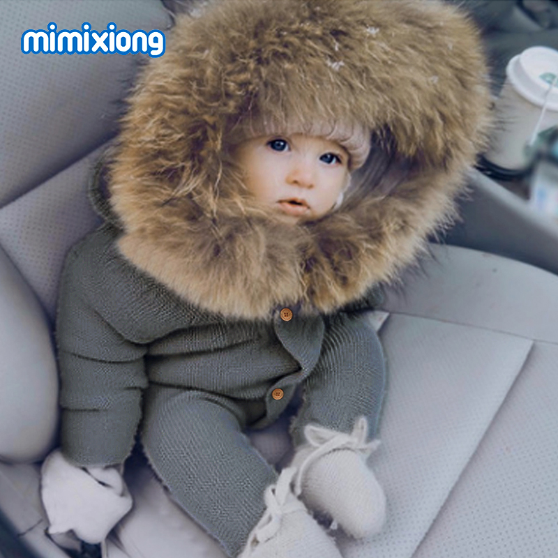 <font><b>Baby</b></font> Rompers Knitted <font><b>Clothes</b></font> Autumn Long Sleeve Newborn Boys Girls Hooded Infant Kids Jumpsuits Solid Toddler Kids Playsuits Top image