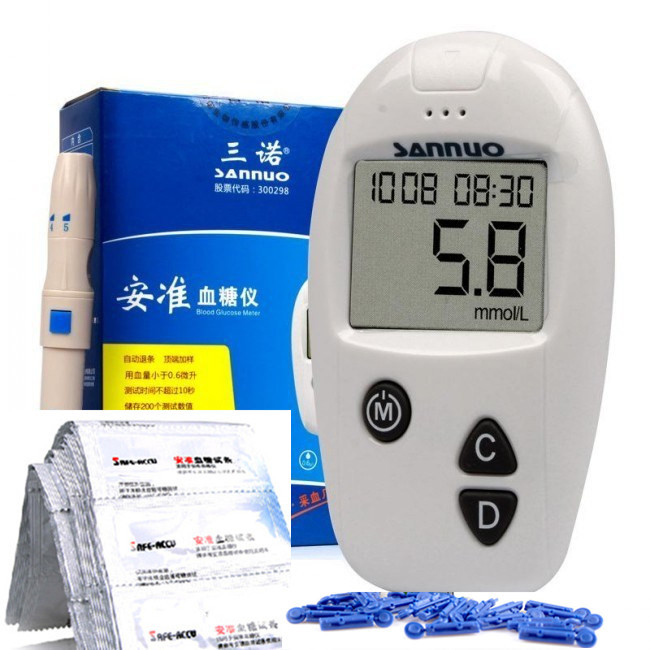 Sannuo ANZHUN Glucometer Blood Glucose Meter Including 1test Strips lancet Measurement Sugar - Tina Jiang's store