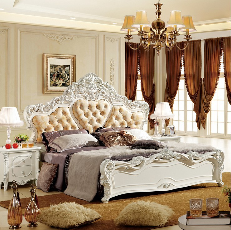 high quality bed Fashion European French Carved bedside 1.8 m bed 4953|bed setting|bed jewelry|bed crown -