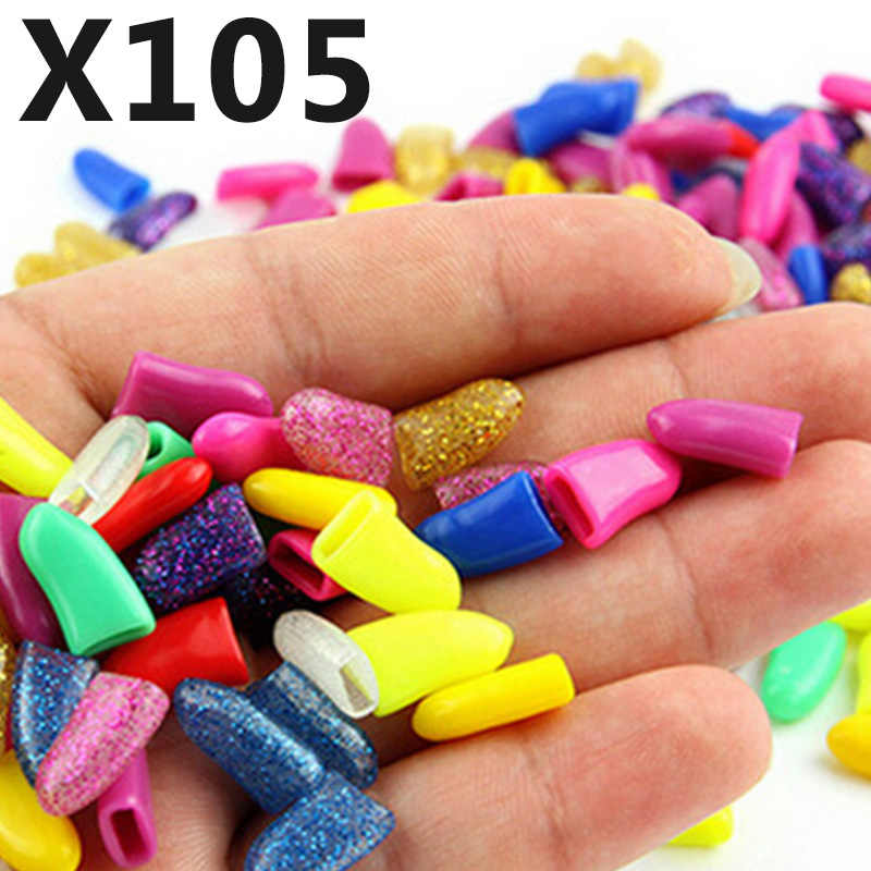 105 pcs Nail for Cat Grooming Nail Cover Paw Kitten Claw Caps Pet Dog Silicon Nail for Protector with free Glue and Applictor