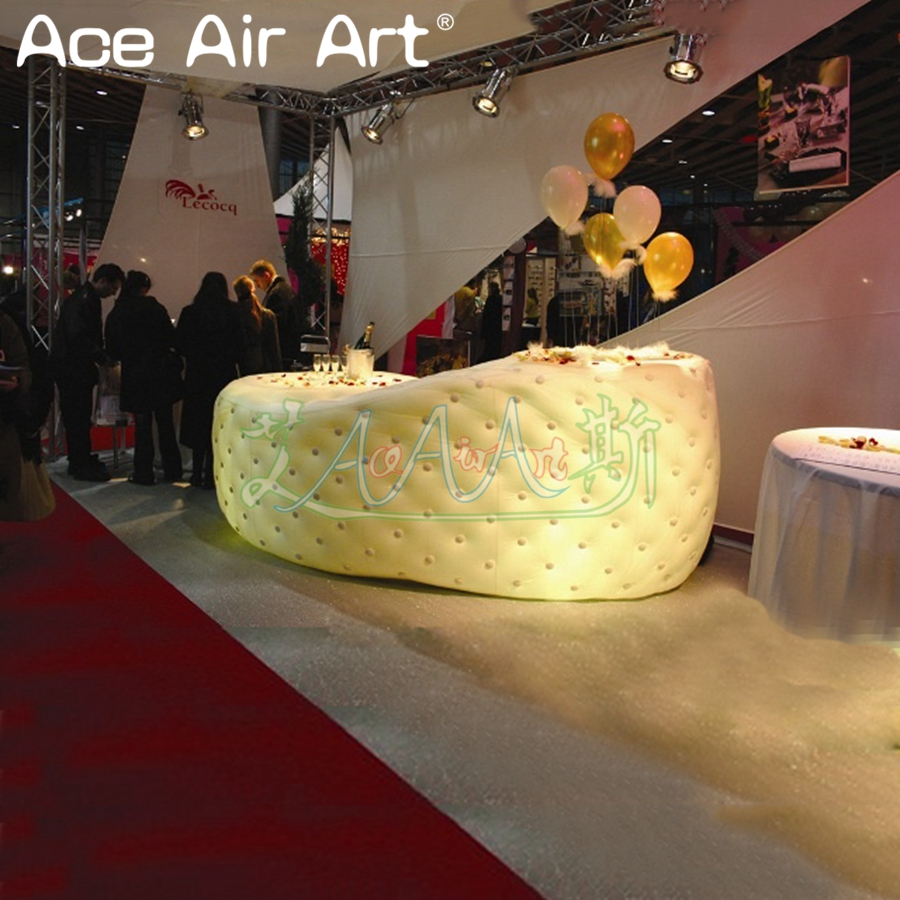 Amasing led lights inflatable bar counter,bar serving desk/office desk for trade show rental or promotion and display