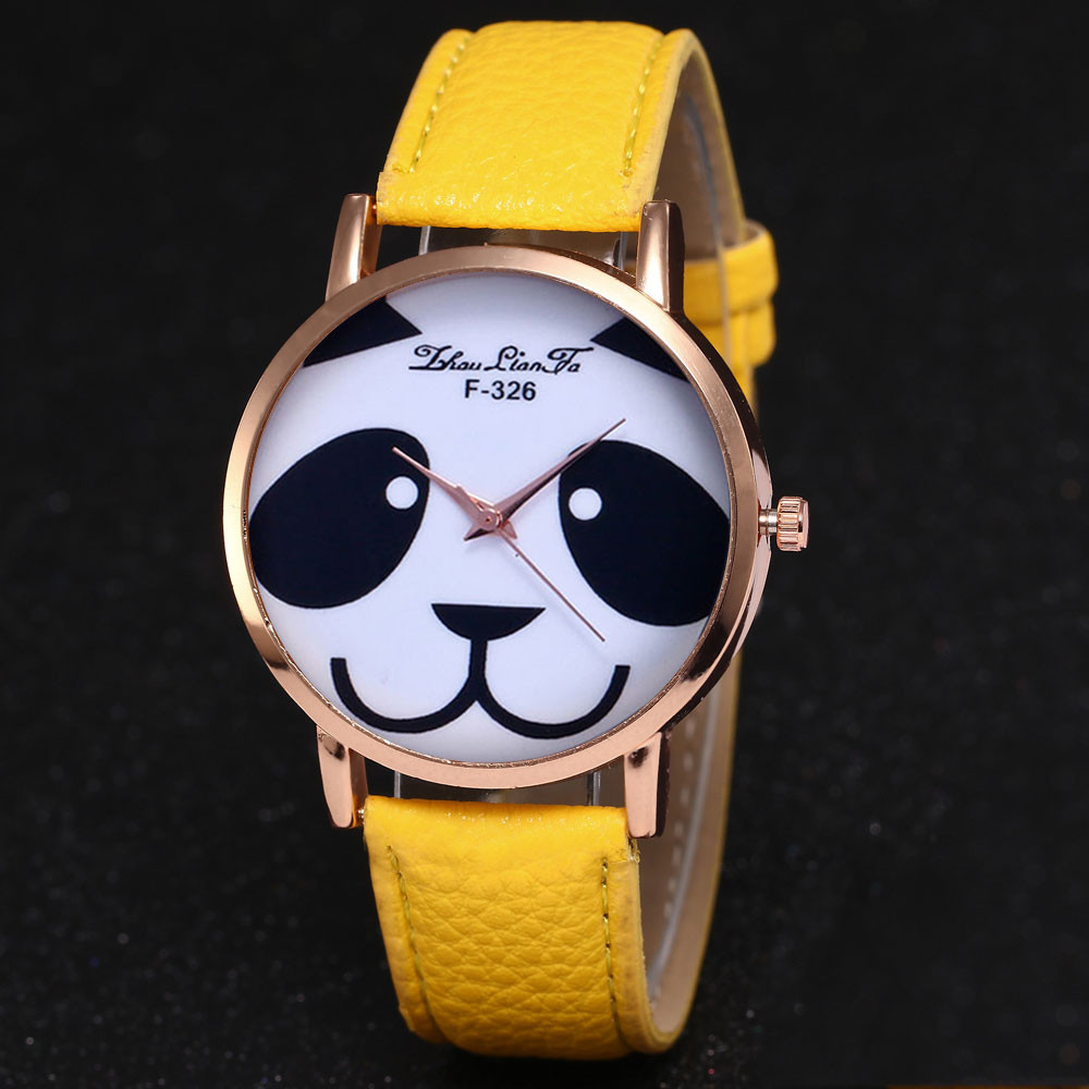 Gofuly 2018 Fashion Faux Leather Band Watch Women Casual Clock Relogio Feminino Panda Quartz Wrist Watch Relojes Mujer &Ff