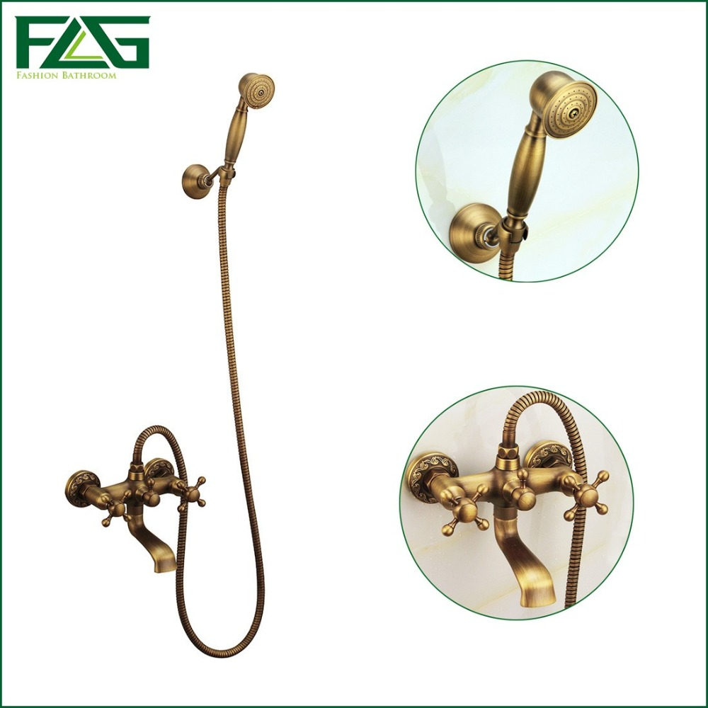 Free Shipping Bath Shower Faucet Solid Brass Antique Mixer Tap Luxury Bathroom Shower Set Bathtub Shower Taps Wall Mounted HS020  luxury bathroom rain shower faucet set antique brass handheld shower head two ceramics lever bathtub mixer tap ars003
