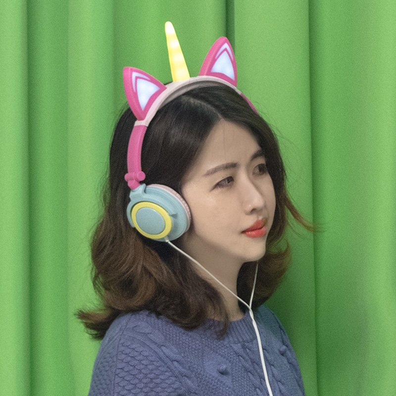 Cute Cat Ear Unicorn LED Flashing Wired Headphones Earphone Glowing Headset For Adult Children Child