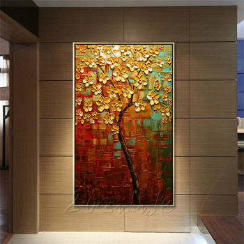 Canvas Painting Hand Painted palette knife 3D texture Flower Tree Wall Pictures For Living Room Christmas decorations for home08