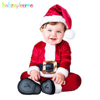 2018 New My First Christmas Costume Cartoon Cute Santa Claus Rompers Baby Boys Clothes Newborn Outfit Infant Clothing Set BC1804