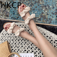 HKCP Sandal woman 2019 summer new style han edition student is melting bowknot soft bottom loafer shoe beach C267