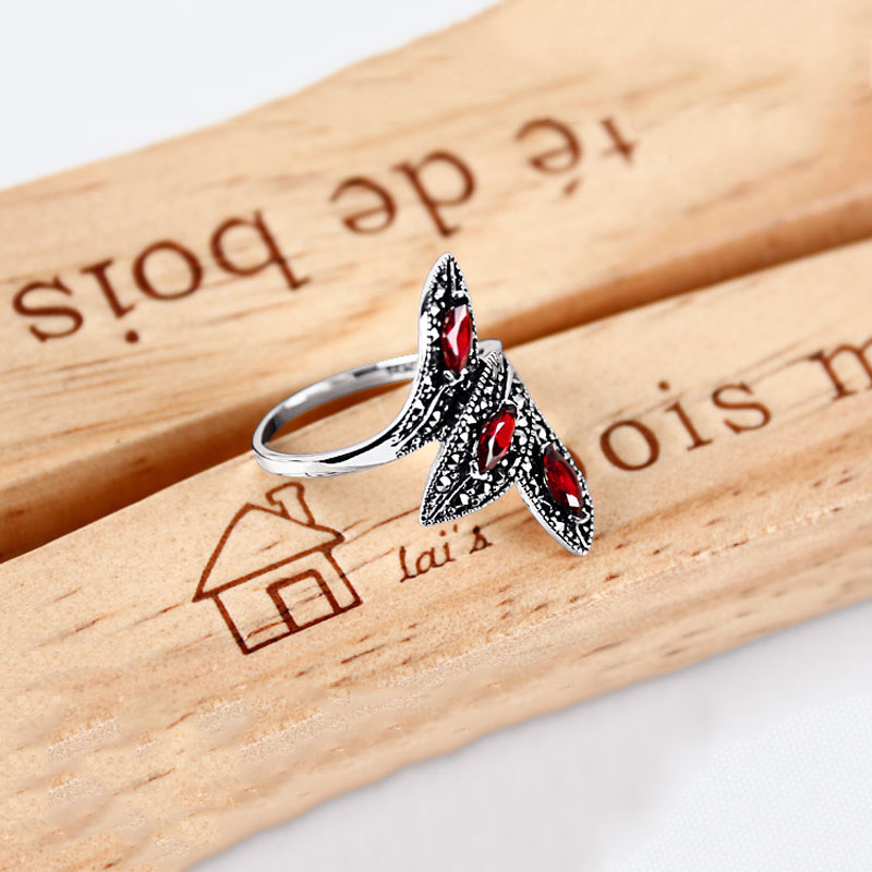 Bague grenat synthétique 925 argent Sterling anillos pierre rouge Punk mariage à la mode S925 Thai argent anneaux pour femmes bijoux - 5