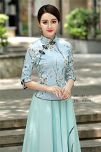 Cheongsam Shirt Traditional Chinese Clothing Girls Embroidered Top Style Linen Mandarin Collar