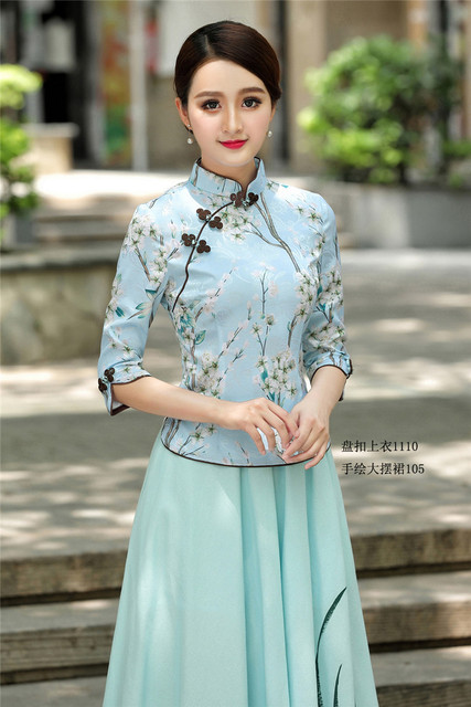 e53d6204d53 US $43.0 |Cheongsam Shirt Traditional Chinese Clothing Girls Embroidered  Top Chinese Style Linen Top Mandarin Collar Shirt-in Tops from Novelty & ...