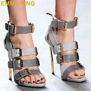 2019 Buckles Strap Stiletto Gladiator Sandals Summer Women High Heels Shoes 12CM Genuine Leather Ankle Boots Sexy Woman Sandals