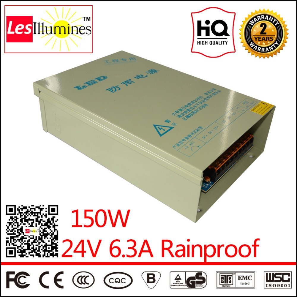 LED Strip Driver Outdoor Rainproof CE ROHS Approved AC DC Constant Voltage output 24V DC 6.3A 150W Switching Power Supply 90w led driver dc40v 2 7a high power led driver for flood light street light ip65 constant current drive power supply