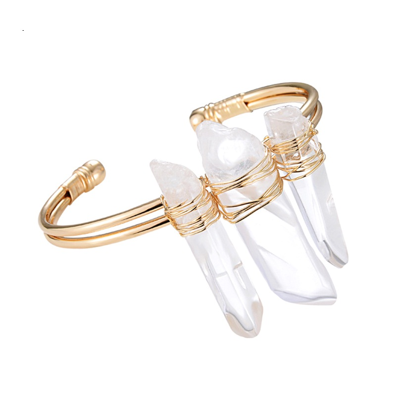 New Arrive Natural Spike Clear Quartz Crystals Jewelry Cuff ...