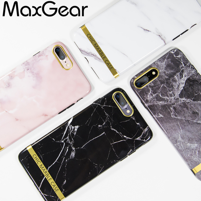 meet 076bf 66354 US $2.98 20% OFF|MaxGear Chic Marble Phone Case For iPhone 6 6S 7 8 Plus  Case Fashion Gold Bar Back Cover Soft TPU Cases For iphone7 Fundas Coque-in  ...