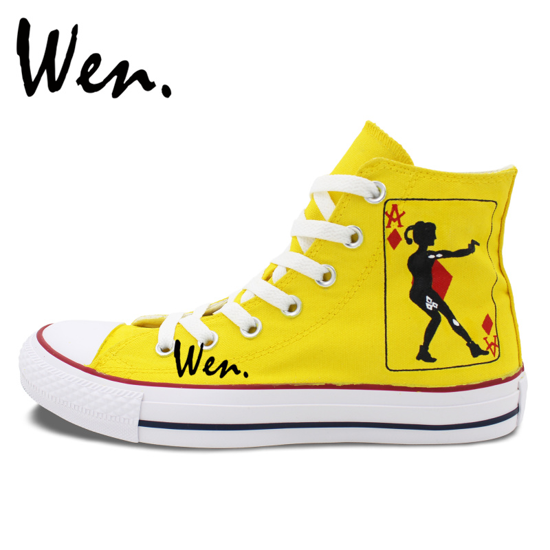 Wen Hand Painted Shoes Yellow Design Custom Sneakers Poker Joker Men Womens High Top Canvas Sneakers for Gifts