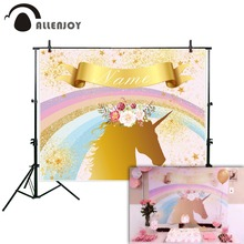 Allenjoy photographic background Golden Rainbow Children Flowers Birthday party Unicorn backdrop photo photocall photophone