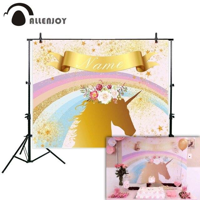 Allenjoy photographic background Golden Rainbow Children Flowers Birthday party Unicorn backdrop photo photocall photophone