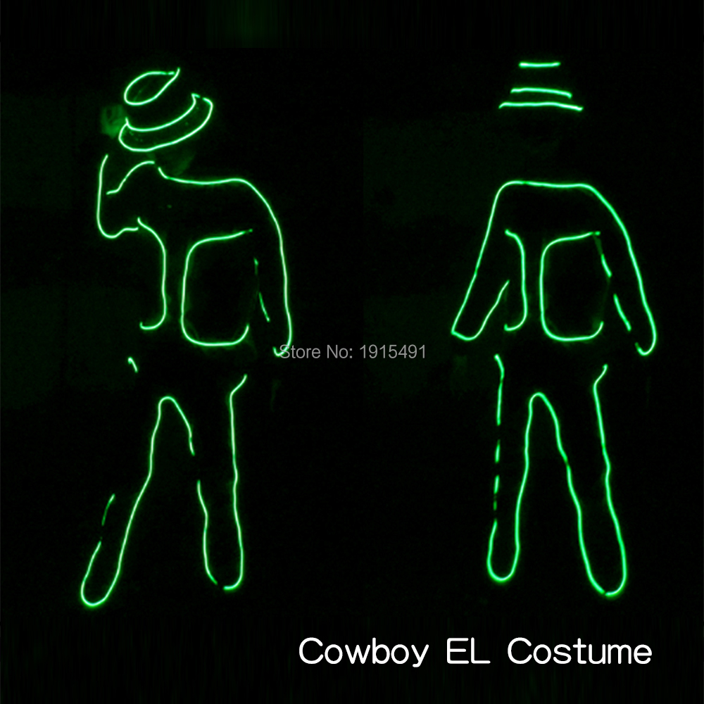 High Quality EL Wire Party Dance Costume Luminous Glow In Dark Party Supplies Led Neon Cowboy Design Clothes as Holiday Lights