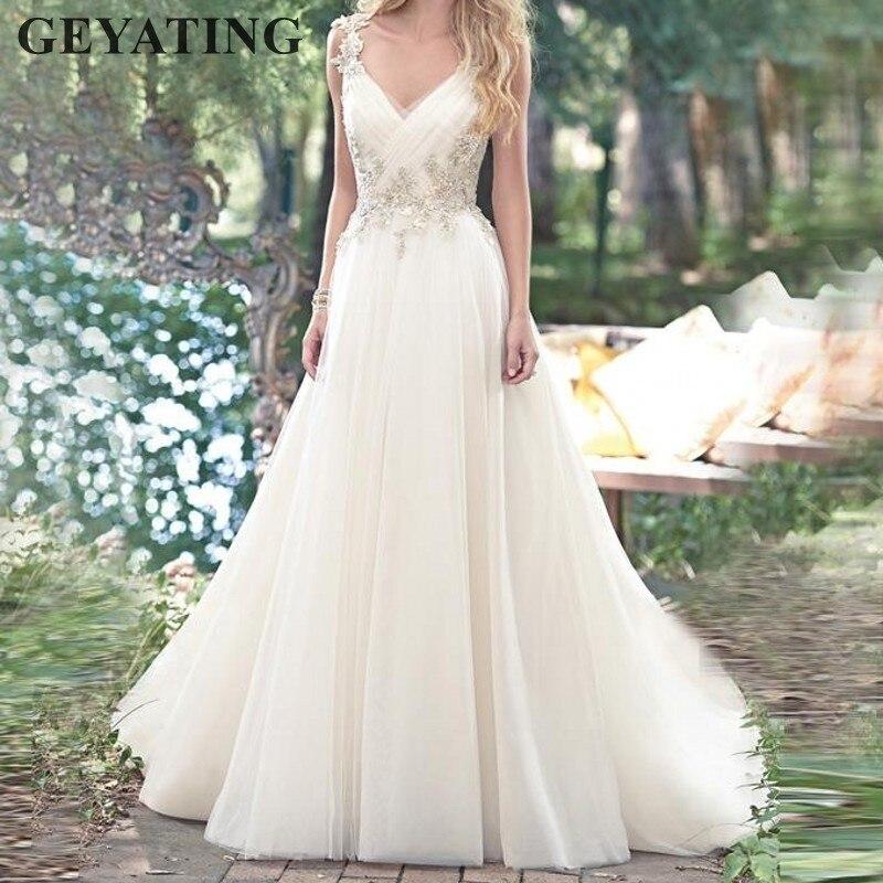 Ivory Boho Wedding Dresses 2019 Vestido De Noiva Casamento A Line V-neck  Lace Appliques 295ff200f774