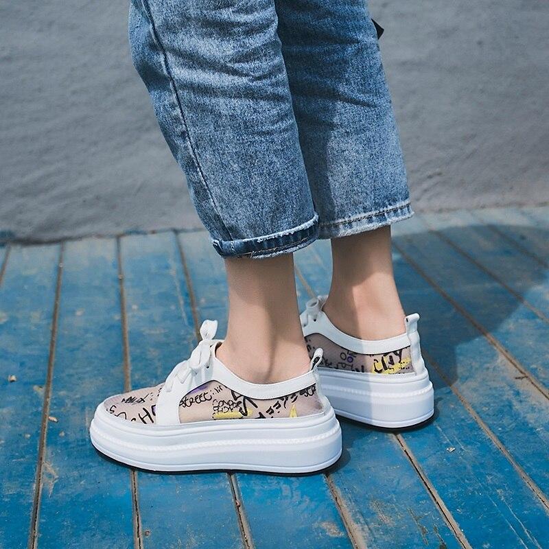 Egonery 여성 신발 2019 여름 새로운 패션 정품 가죽 메쉬 여성 플랫 하이힐 플랫폼 크로스 묶인 숙녀 신발 외부-에서여성용 플랫부터 신발 의  그룹 3
