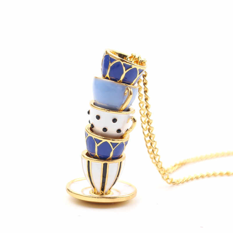 2019 New Hand Made Sweater Chain Clothing Accessories Long Necklace Enamel Jewelry Tea Cup Necklace Pendant Woman