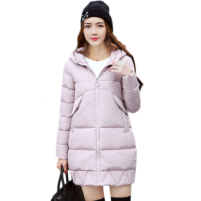 Hot 2017 Winter Women Jackets Cotton Padded Medium Long Slim Hooded Parkas Casual Wadded Quilt Snow Outwear Warm Overcoat XH495 msfilia new winter coat warm slim women jackets cotton padded medium long thick hooded parkas casual wadded fleece outwear