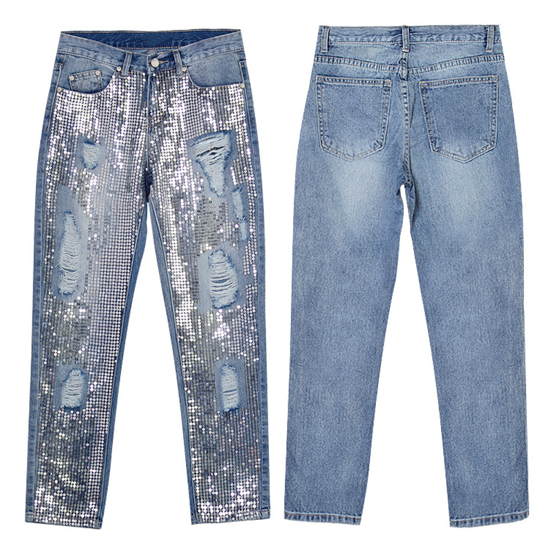 Vintage Loose Ripped Sequins   Jeans   Women Hollow Out Sequined Embroidered Metal Sheets Straight Nine points Pants Female