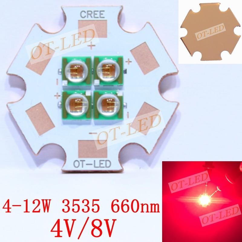 1pcs 10W 4V 8V EPILEDS 3535 660nm Deep Red High Power 4Chips LED Emitter Plant Grow LED with 20MM Cooper PCB epileds 7070 uv purple 365nm led emitter light on 20mm copper pcb board 3 8 4 2v 350 2400ma