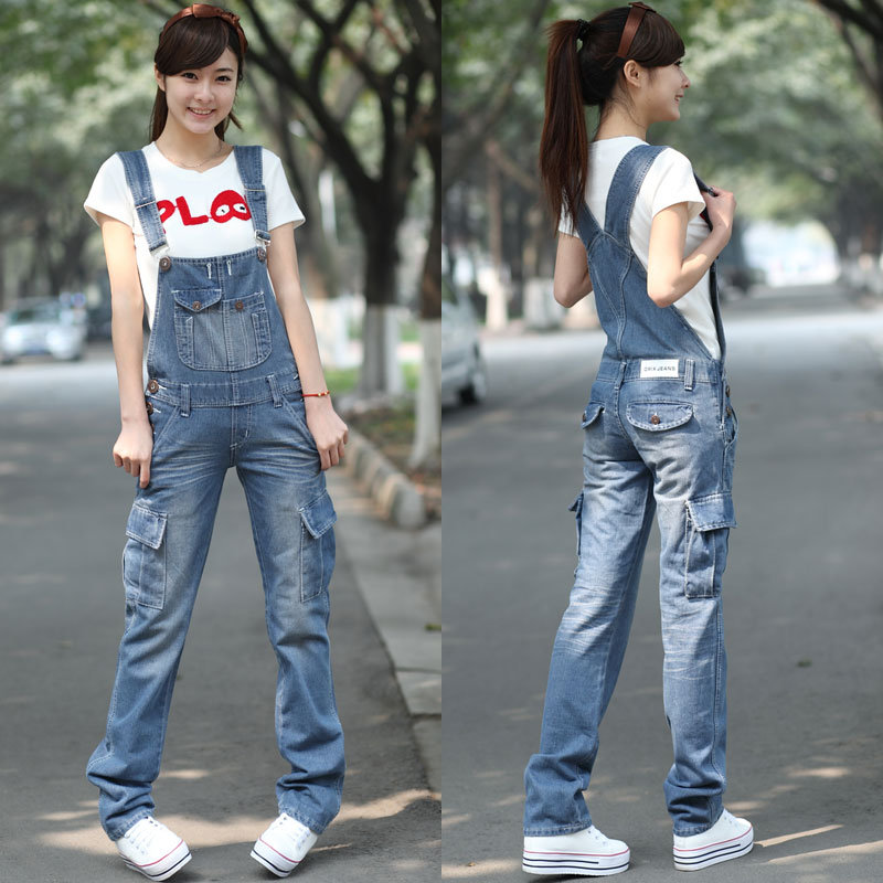 Free Shipping 2017 New Fashion Denim Bib Pants Spaghetti Strap Pants Casual Loose Plus Size S-XXL Jumpsuit And Rompers Trousers free shipping 2016 plus size denim bib pants halter neck jumpsuit and rompers for women suspenders jeans ol straight trousers xl