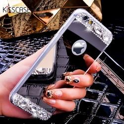 KISSCASE pour iPhone 5 S 6 7 8 X étui paillettes miroir étuis pour iPhone 7 6 6 s Plus 5 S 5 SE coque en diamant de luxe pour fille femmes couverture