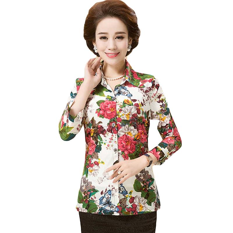 New 2016 Summer Women's Blouse Three Quarter Sleeve Flower Printed Casual Shirt Clothing Blusas Femininas SS131
