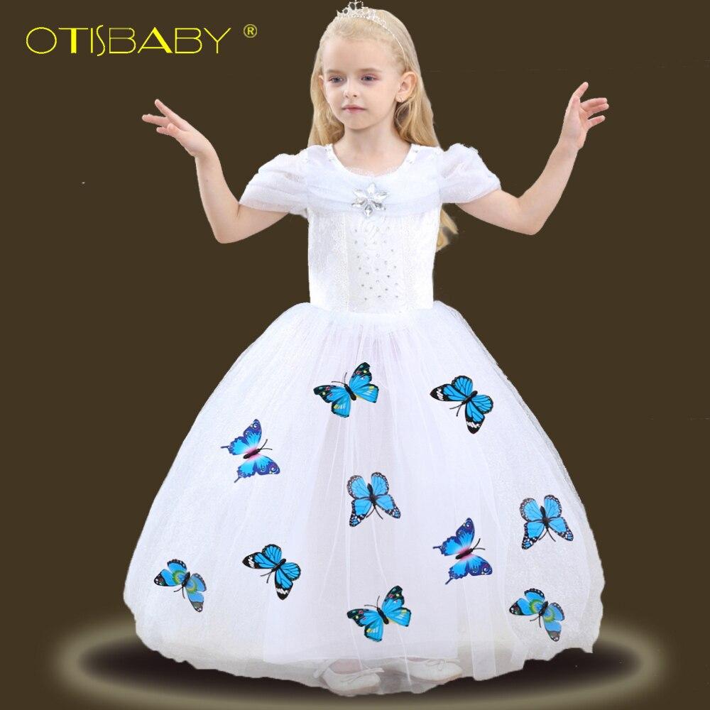 Alta qualidade meninas fantasia cinderela princesa vestidos de baile crianças sofia rapunzel vestido de renda menina elsa neve branco traje 10