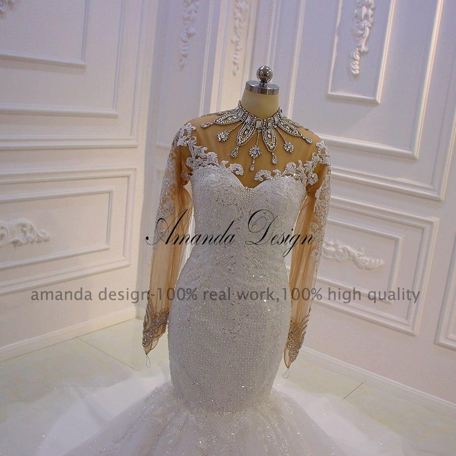 Image 2 - Amanda Design robe mariee Long Sleeves Lace Appliques Crystal See Through Mermaid Wedding DressWedding Dresses   -