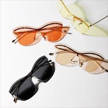 Retro Oversize óculos Sem Aro Mulheres Óculos De Sol Olho de Gato Dos  Homens de Uma Peça Óculos de Sol UV400 b6fb115e48