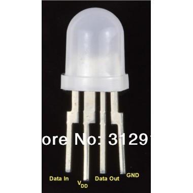 50pcs PL9823 F8 8mm LED round RGB LED P9823 chipset inside Full color LED Senior